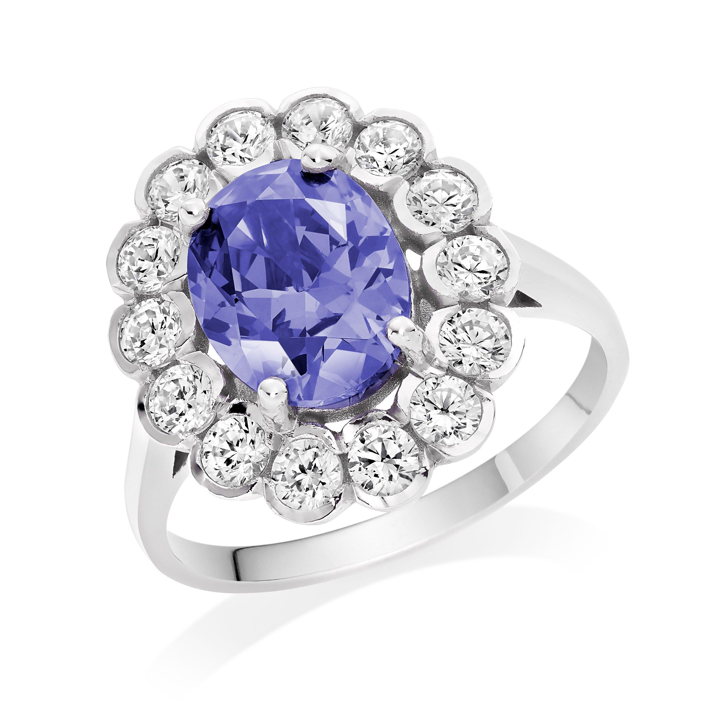 9ct White Gold Purple Cubic Zirconia Halo Ring