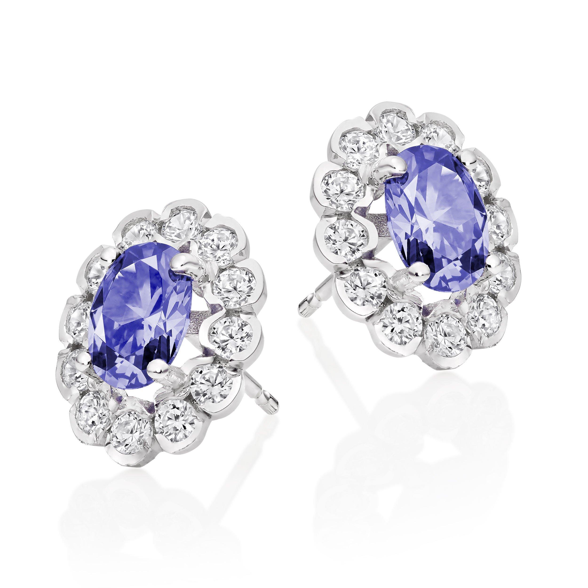 9ct White Gold Purple Cubic Zirconia Stud Earrings