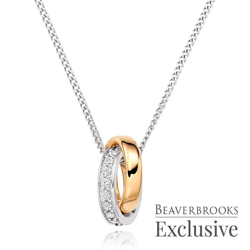 9ct Two Coloured Diamond Pendant