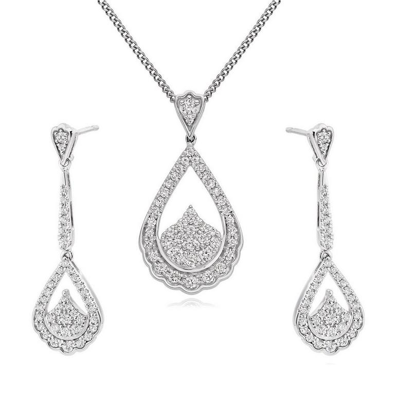 9ct White Gold Diamond Pendant and Earrings Set