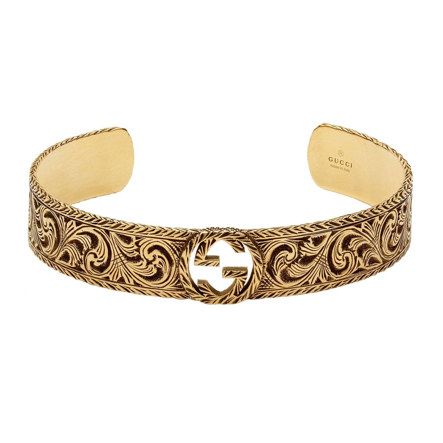 Gucci Interlocking G 18ct Gold Wide Cuff Bracelet
