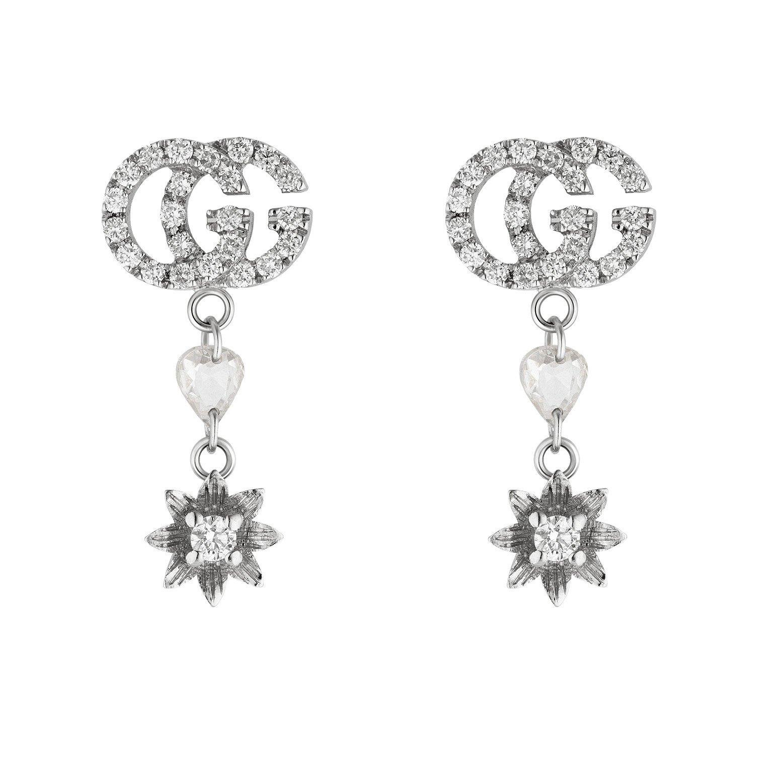 Gucci Flora 18ct White Gold Diamond Drop Earrings