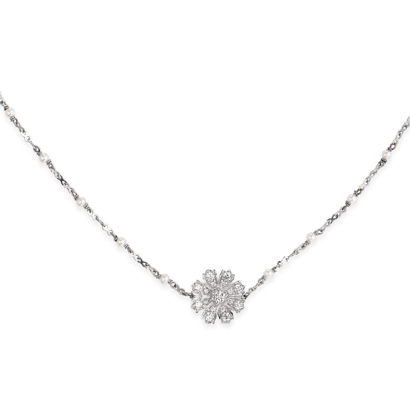 Gucci Flora 18ct White Gold Diamond and Pearl Necklace
