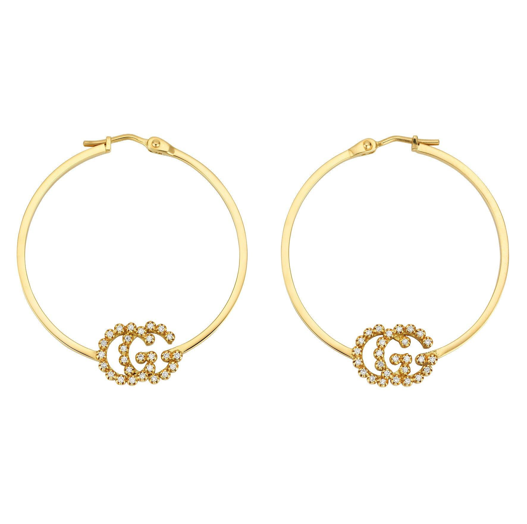 Gucci GG Running 18ct Gold Diamond Hoop Earrings