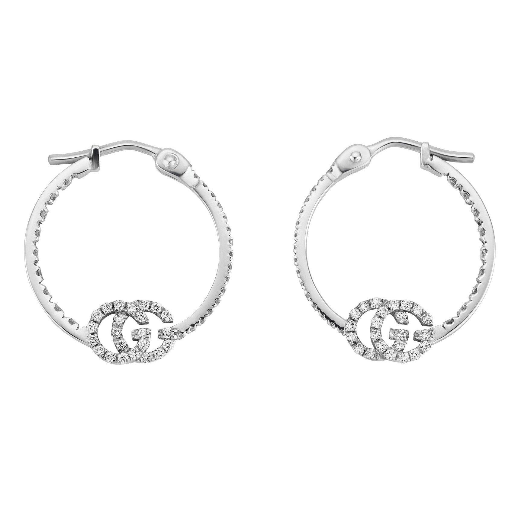 Gucci GG Running 18ct White Gold Diamond Hoop Earrings