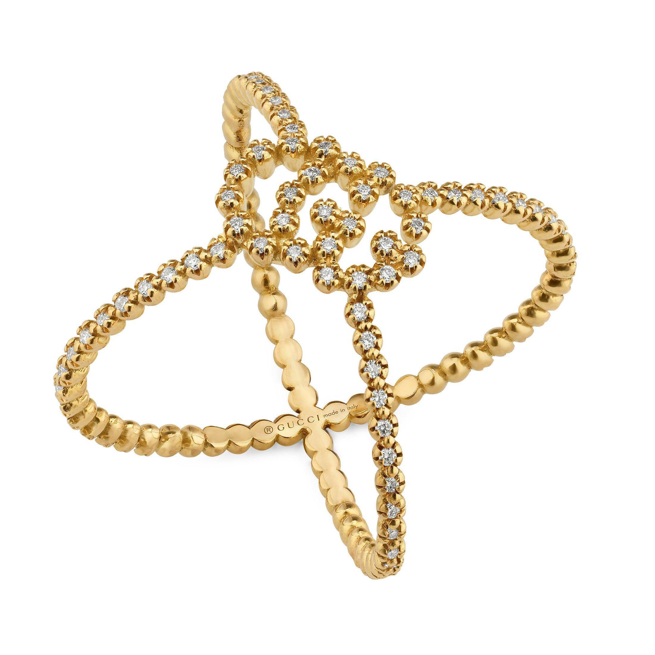 Gucci GG Running 18ct Gold Diamond Ring