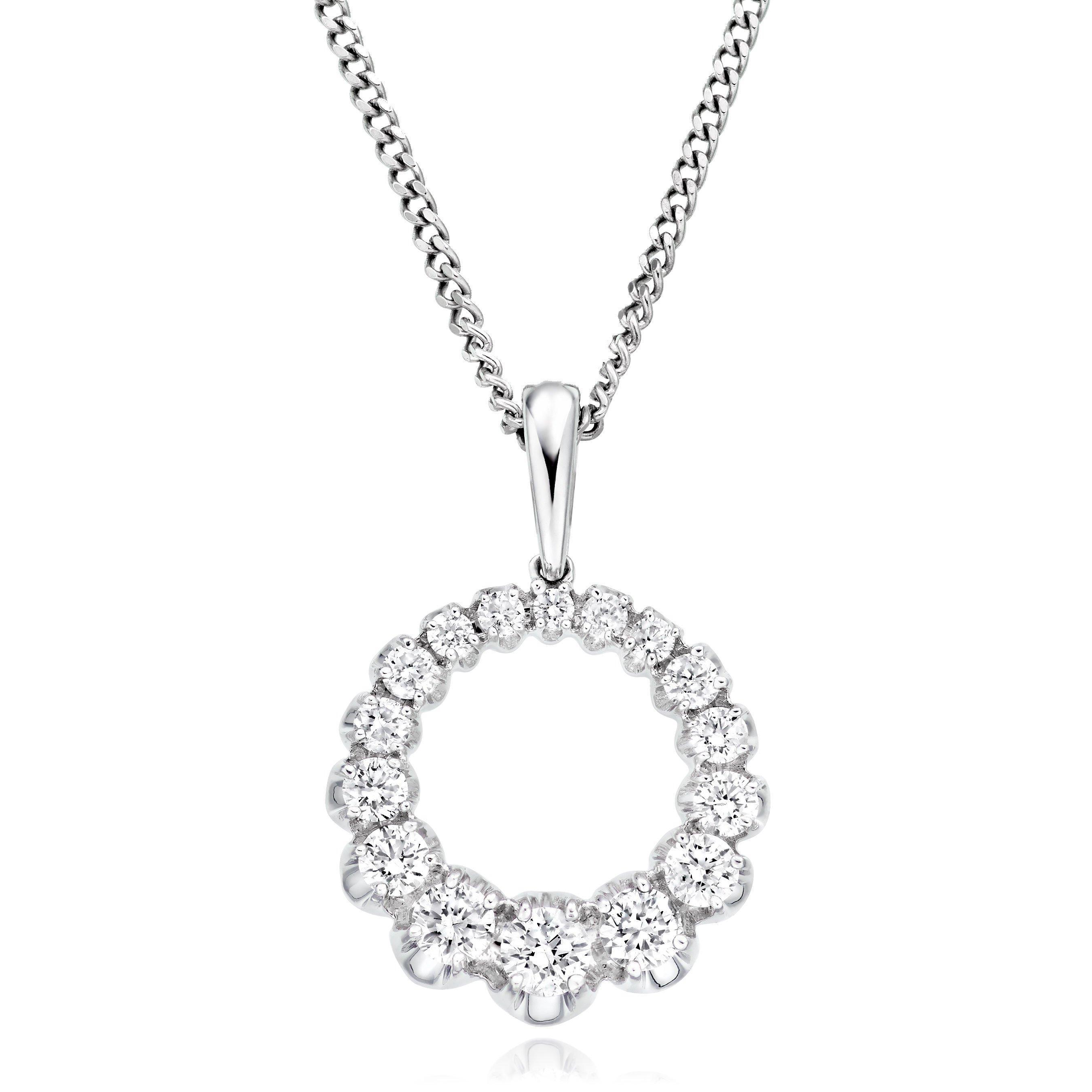 9ct White Gold Diamond Circle Pendant