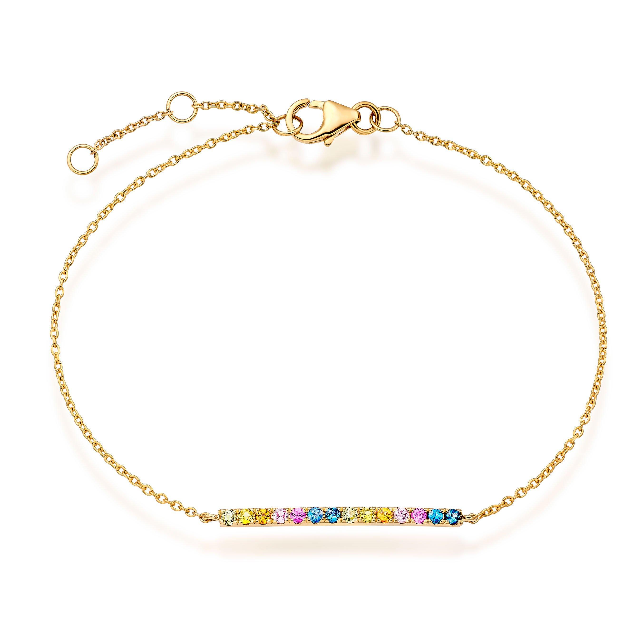 9ct Gold Multi-Coloured Sapphire Bracelet