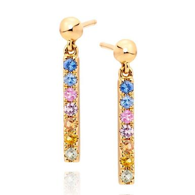 9ct Gold Multi-Coloured Sapphire Drop Earrings