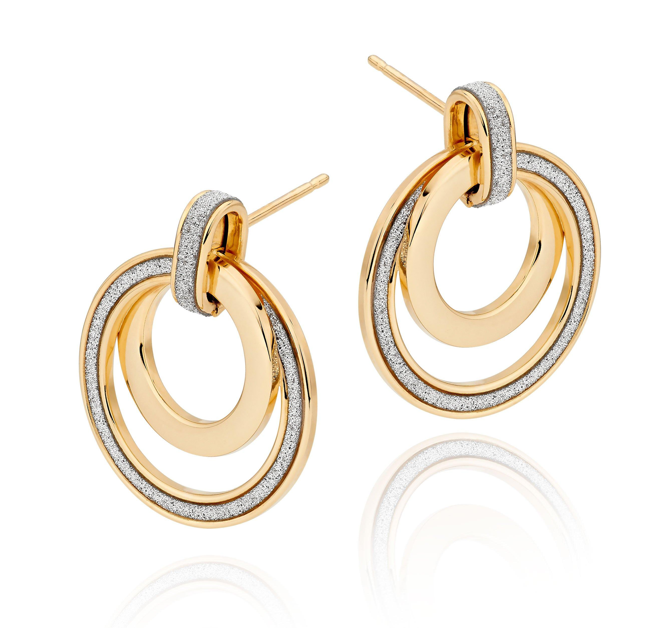 9ct Gold Glitter Circle Earrings