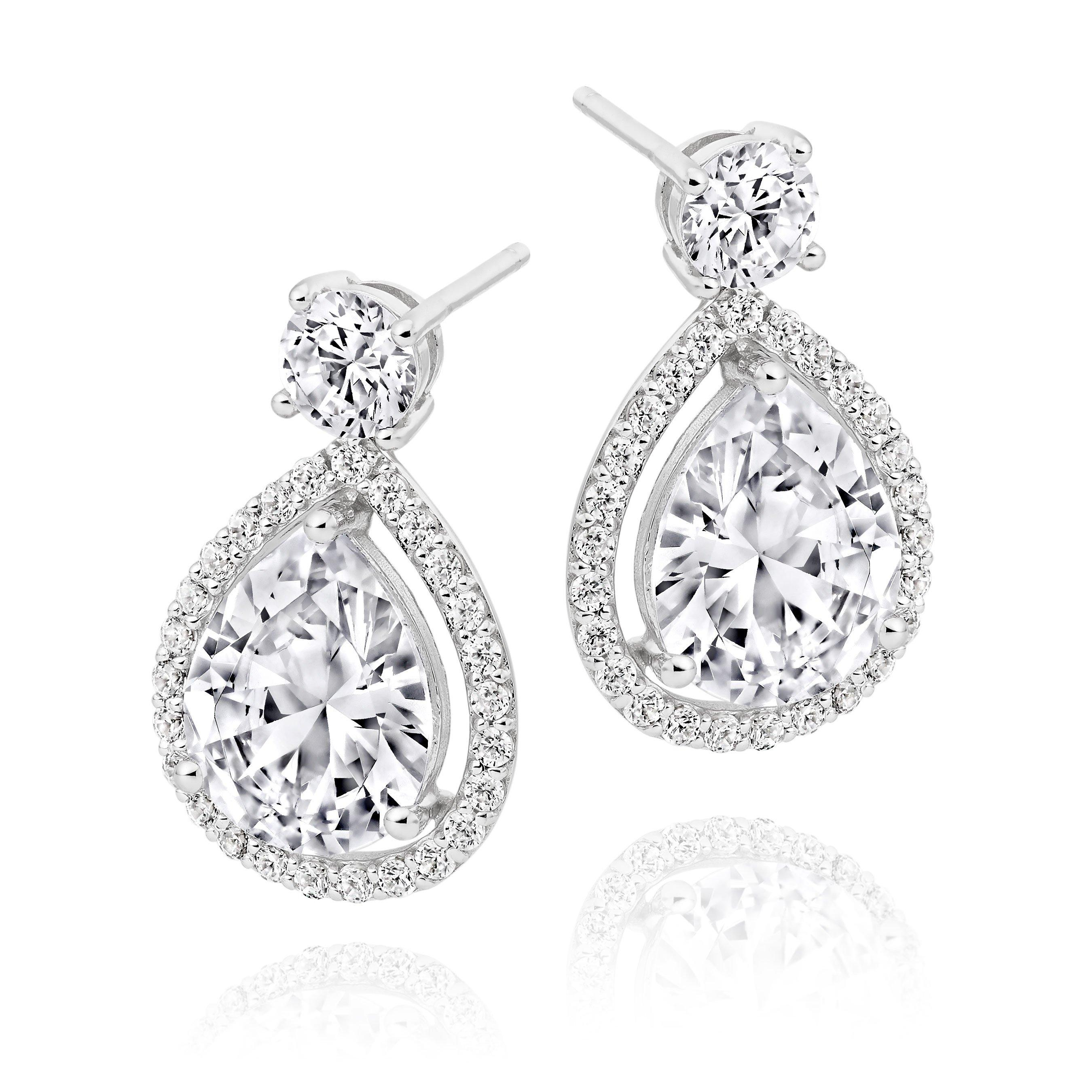 9ct White Gold Cubic Zirconia Pear Drop Earrings