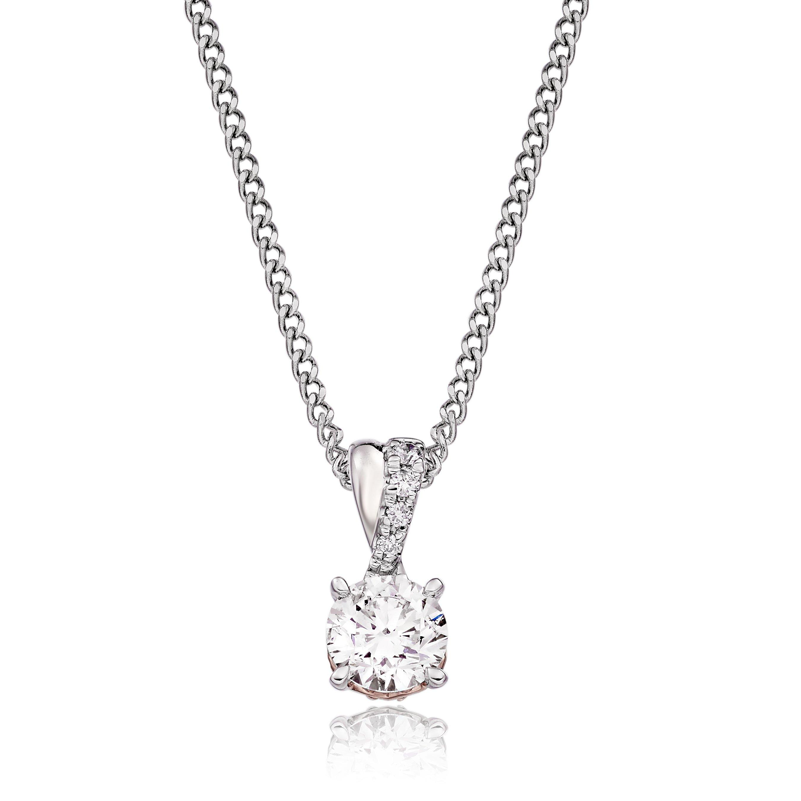 Rose Hearts 18ct White Gold and Rose Gold Diamond Pendant
