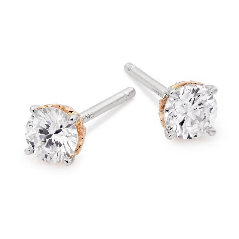 Rose Hearts 18ct White Gold and Rose Gold Diamond Earrings