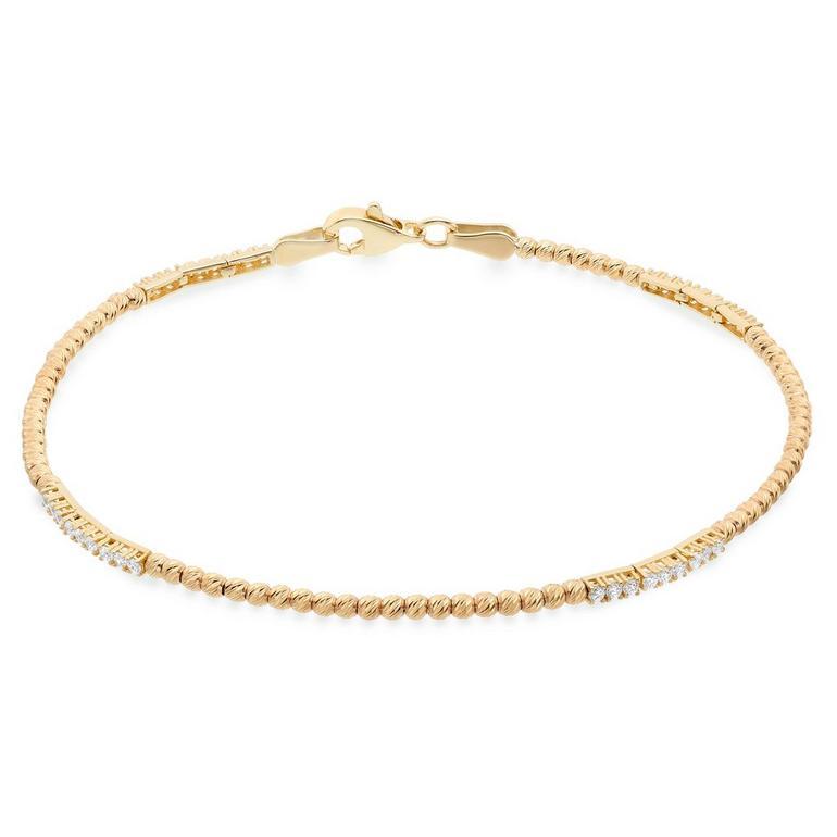 9ct Gold Cubic Zirconia Bead Bracelet