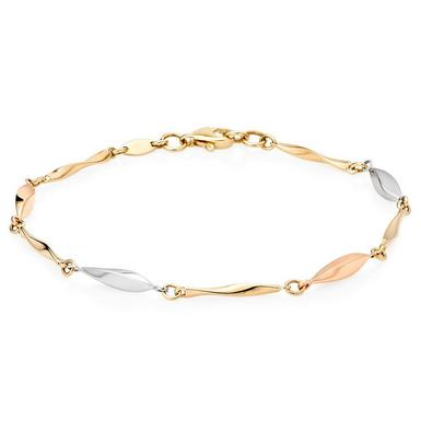 9ct Gold, White Gold and Rose Gold Fancy Bracelet
