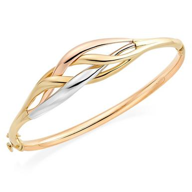 9ct Gold, White Gold and Rose Gold Bangle