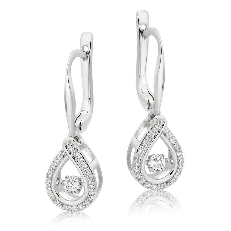 Dance 9ct White Gold Diamond Drop Earrings