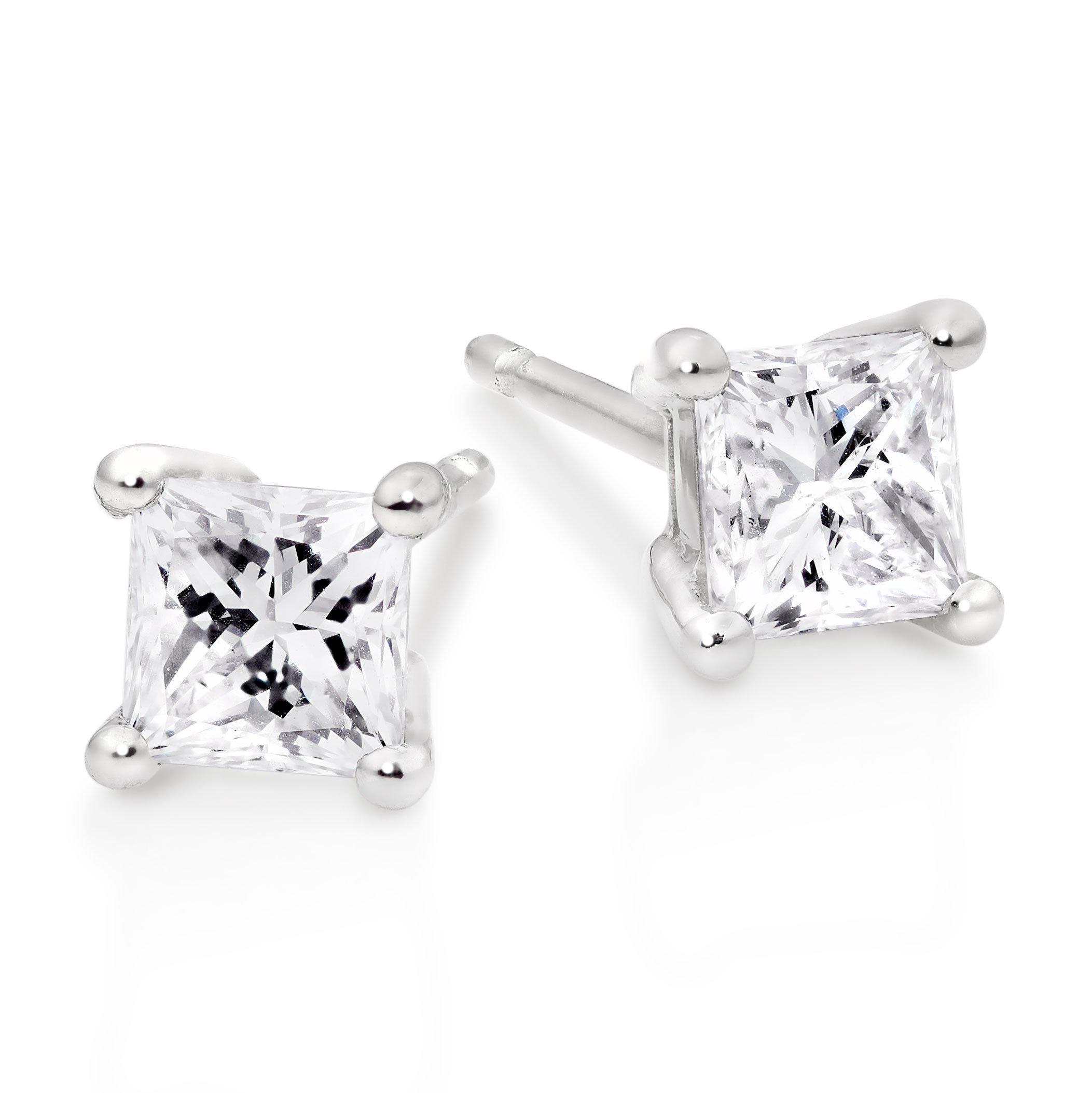 Platinum Diamond Princess Cut Earrings