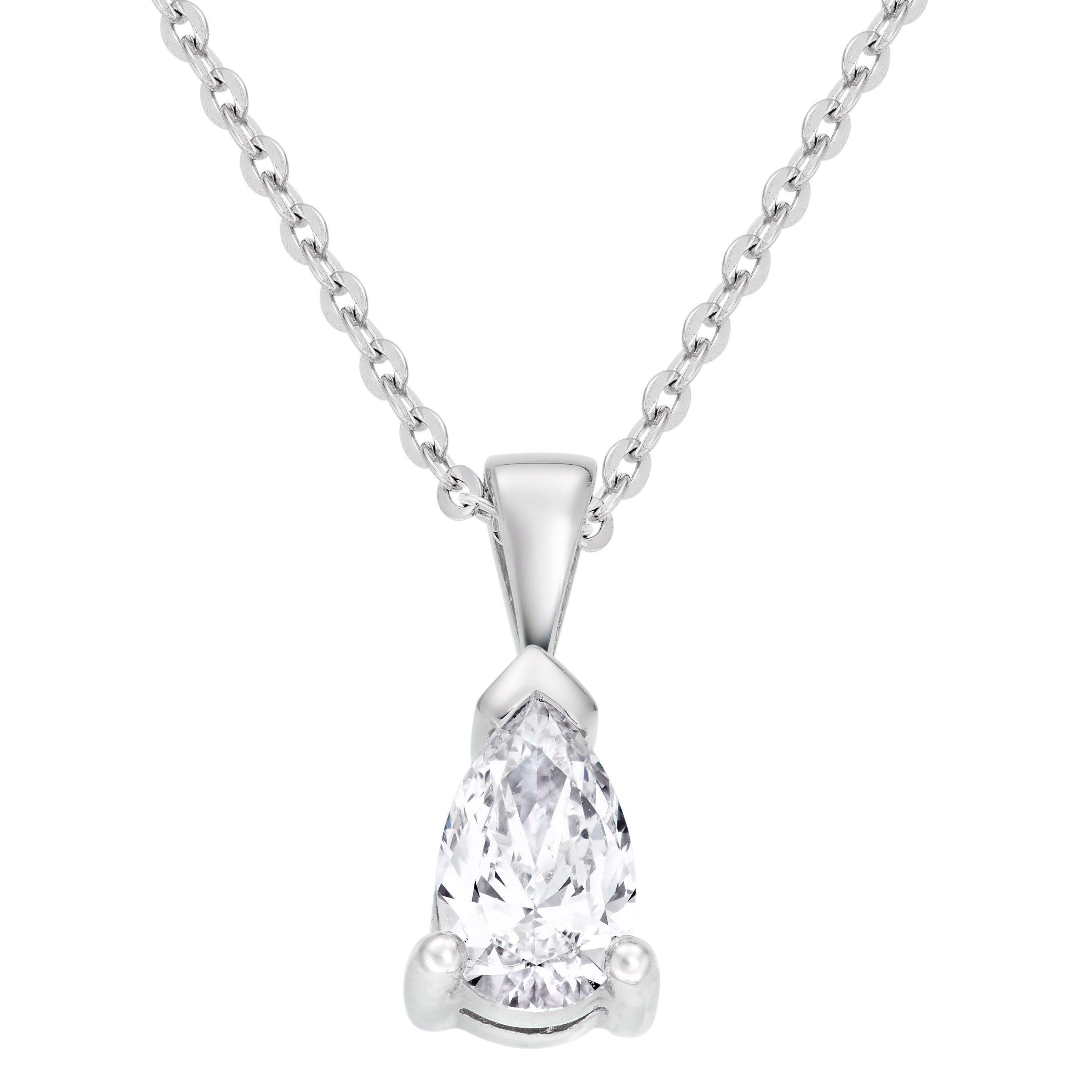 Platinum Diamond Pear Shaped Pendant