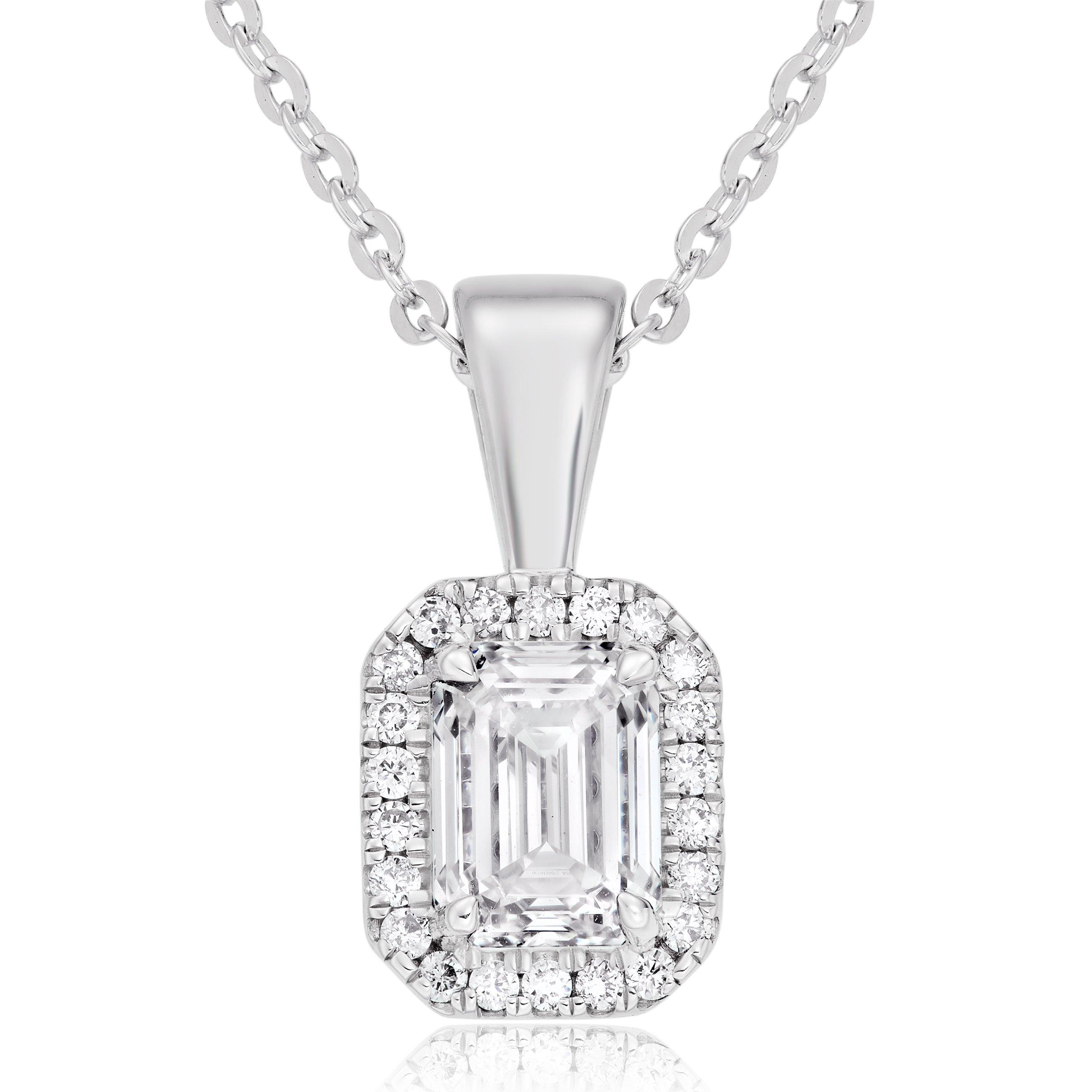 Platinum Diamond Emerald Cut Halo Pendant