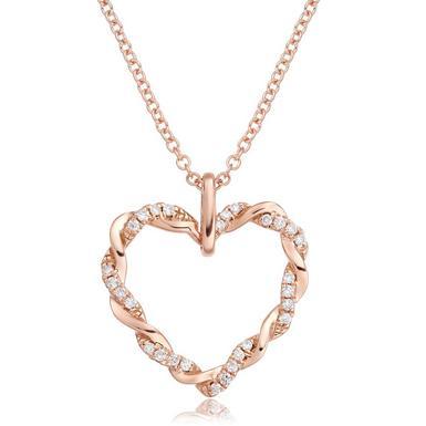 Entwine 9ct Rose Gold Diamond Heart Pendant