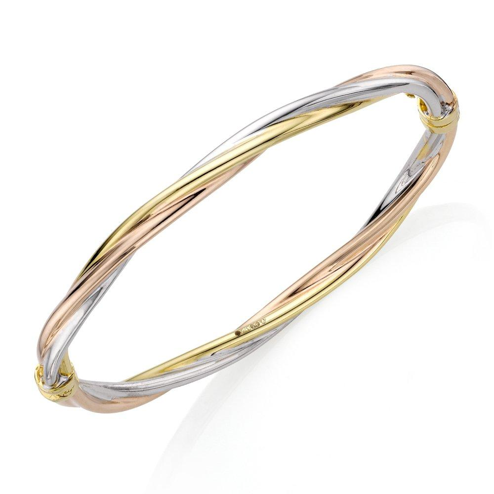 9ct Three Coloured Gold Twist Bangle
