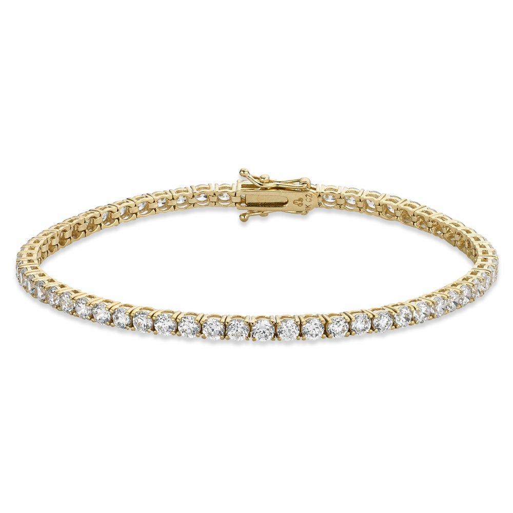 9ct Gold Cubic Zirconia Bracelet - 20cm