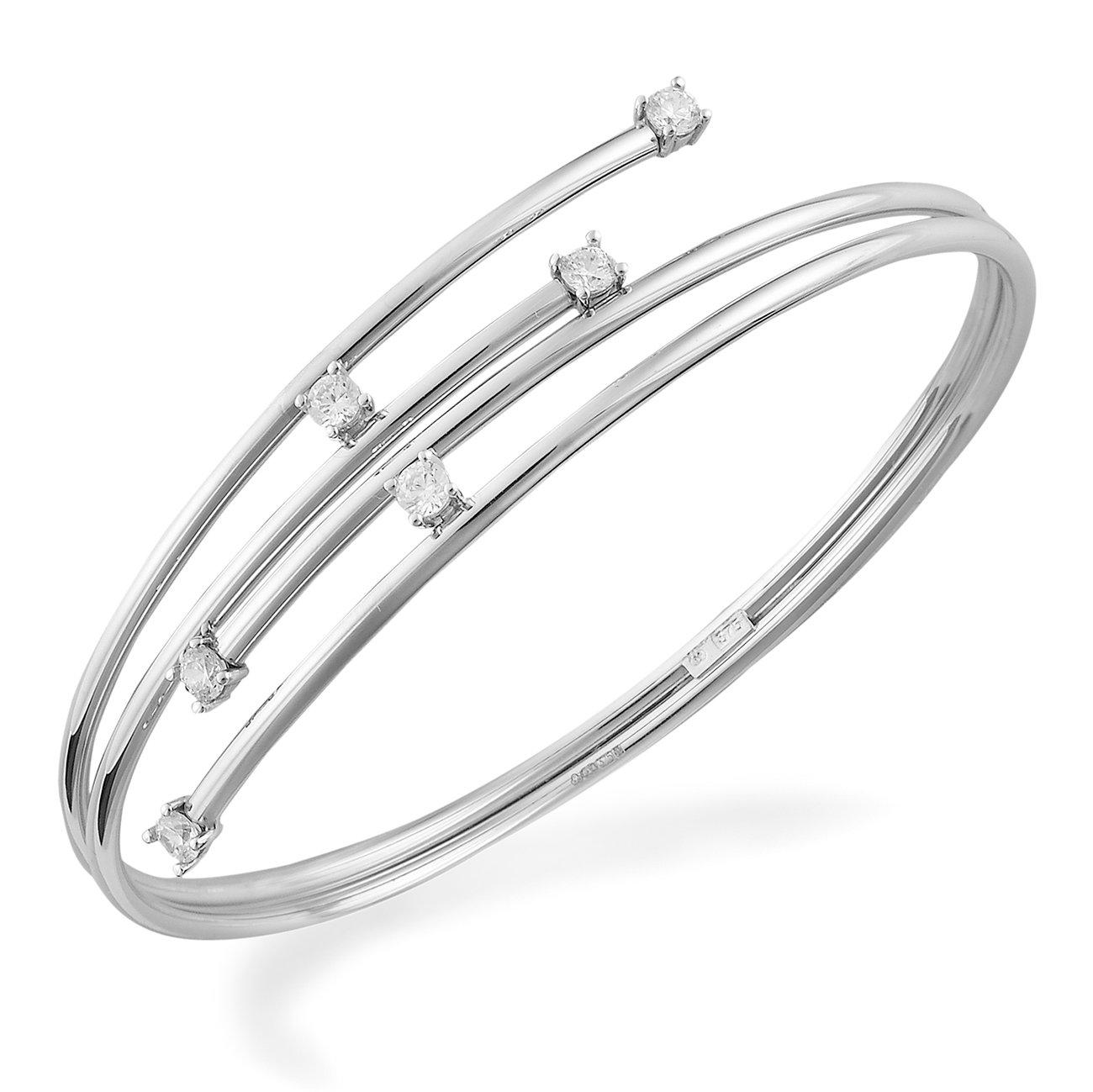9ct White Gold Cubic Zirconia Bangle