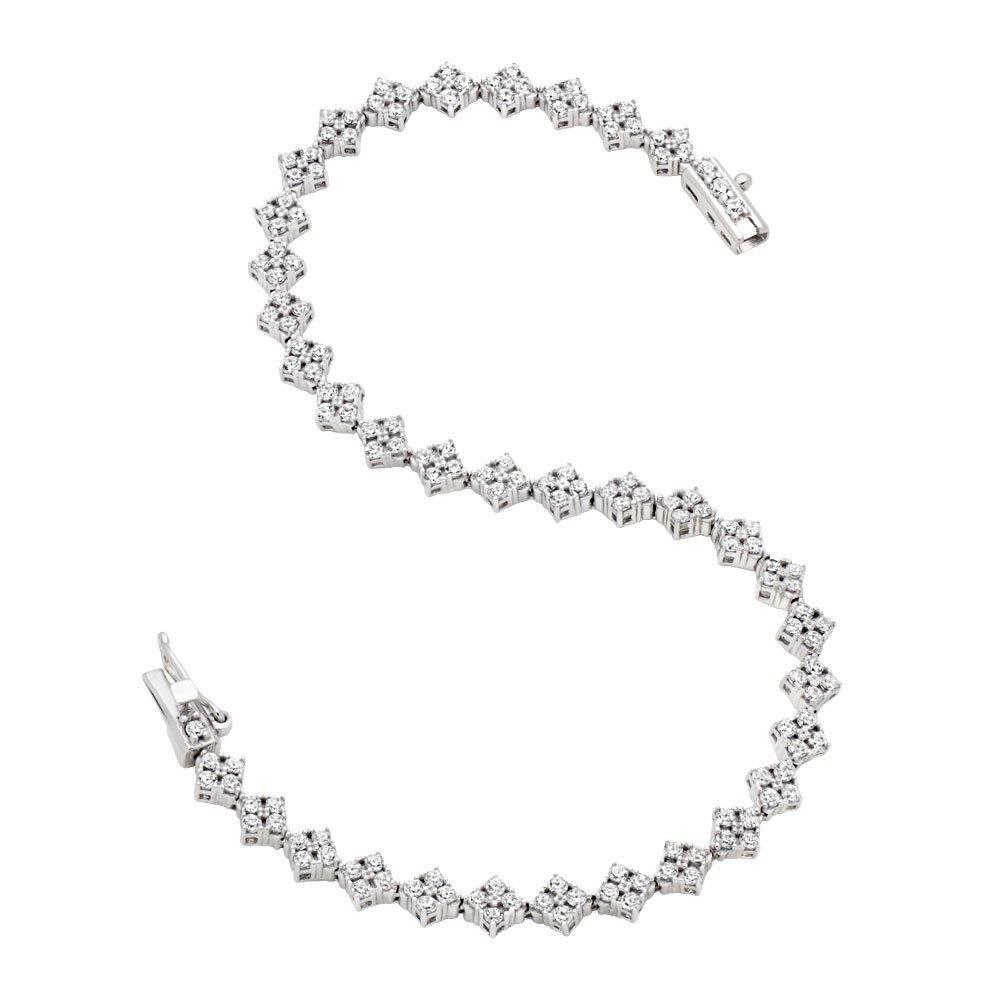 9ct White Gold Diamond Shaped Cubic Zirconia Bracelet