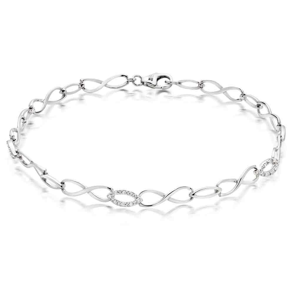 9ct White Gold Diamond Infinity Bracelet