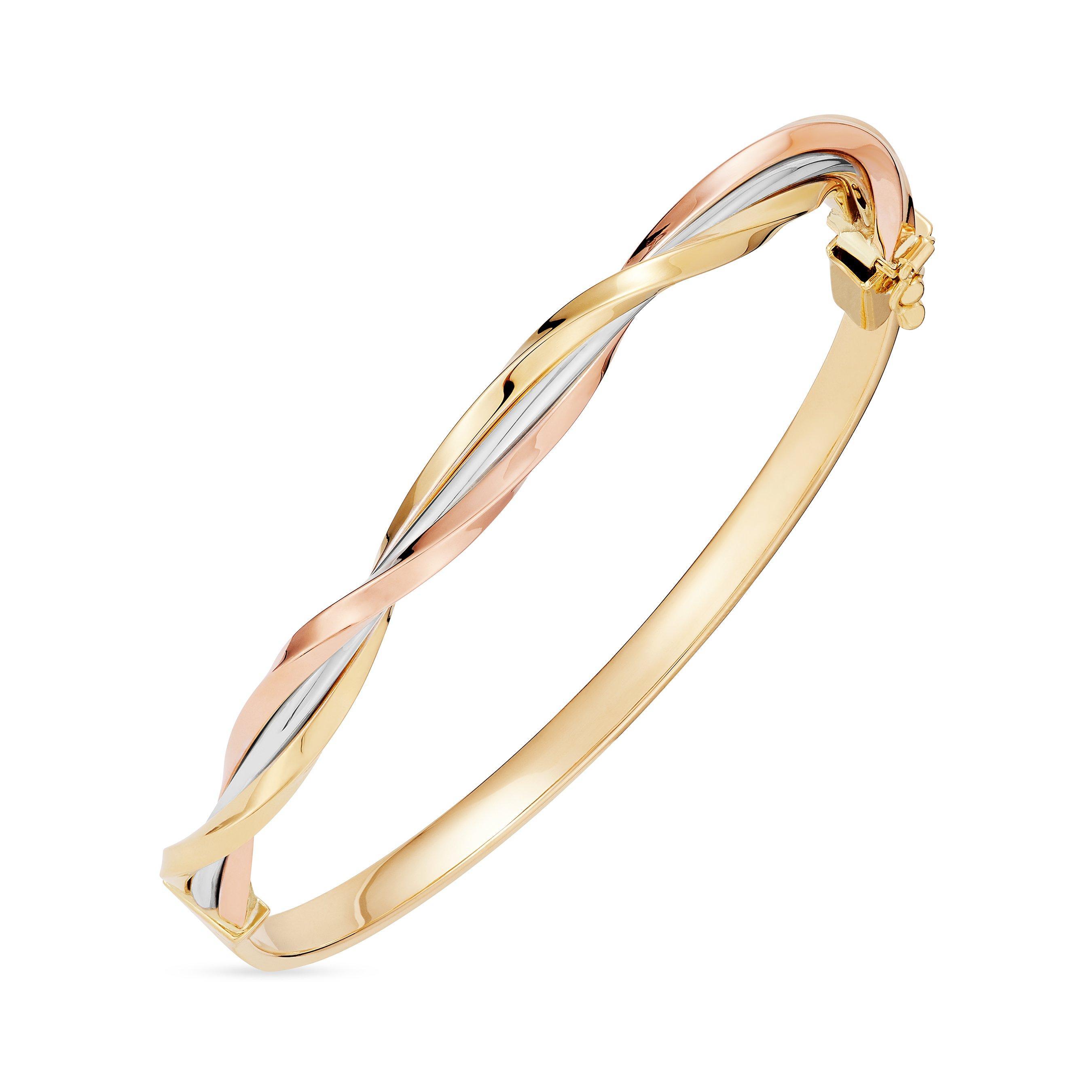 9ct Tri-Colour Gold Twist Bangle