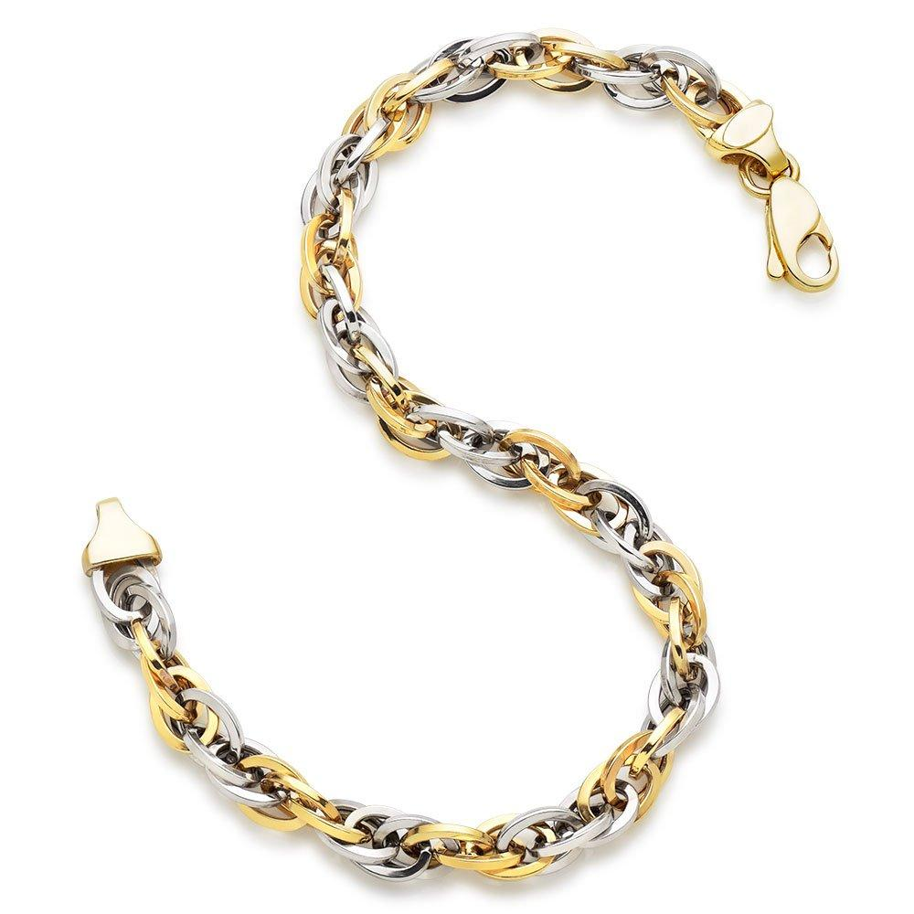 9ct Bi-Colour Gold Twist Bracelet