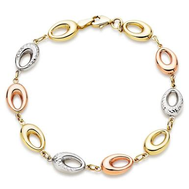 9ct Gold, White Gold and Rose Gold Bracelet