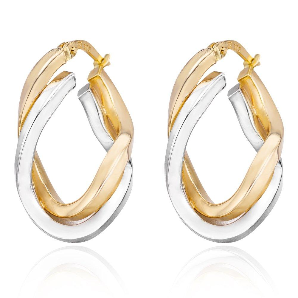 9ct Two Coloured Gold Hoop Earrings