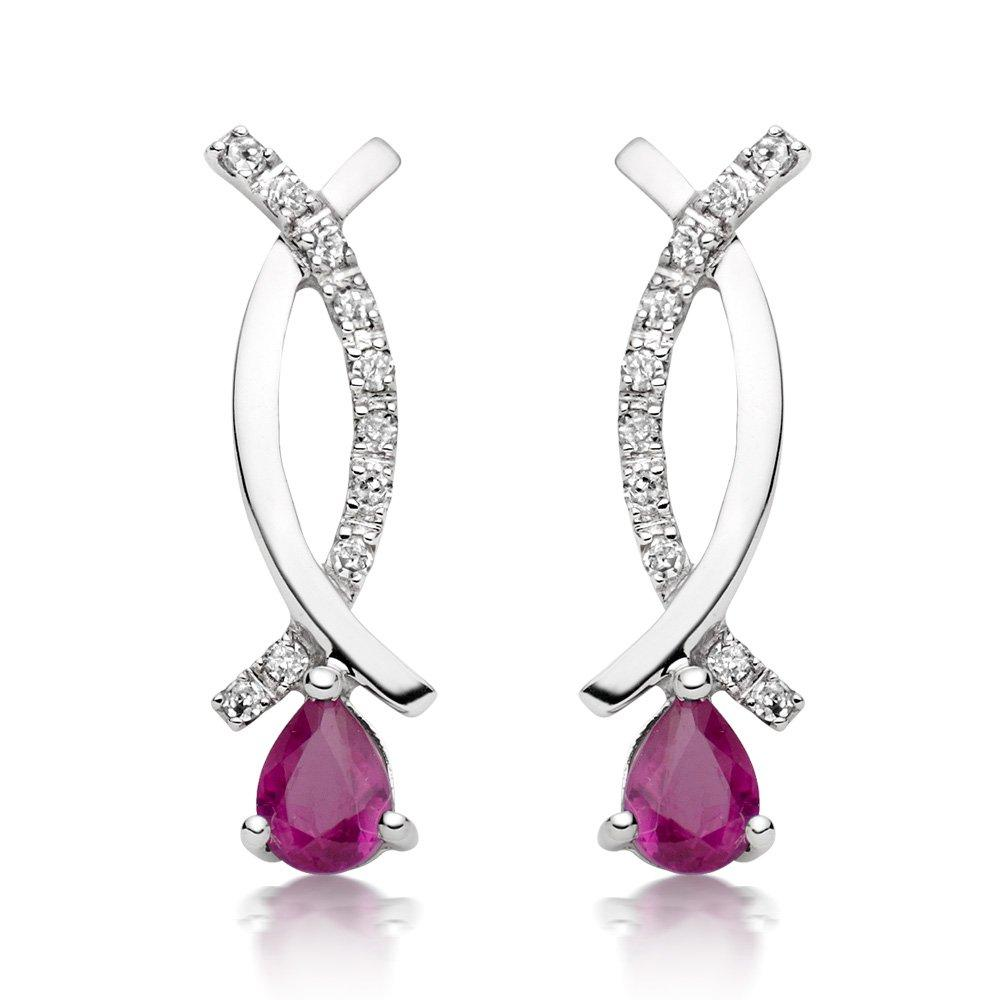9ct White Gold Diamond and Ruby Drop Earrings