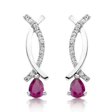 9ct White Gold Diamond Ruby Drop Earrings