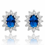 9ct White Gold Blue Cubic Zirconia Stud Earrings