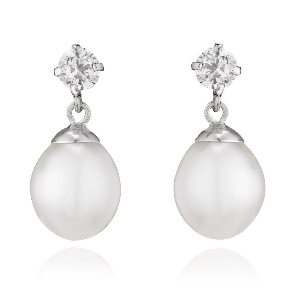 9ct White Gold Freshwater Cultured Pearl Drop Earrings