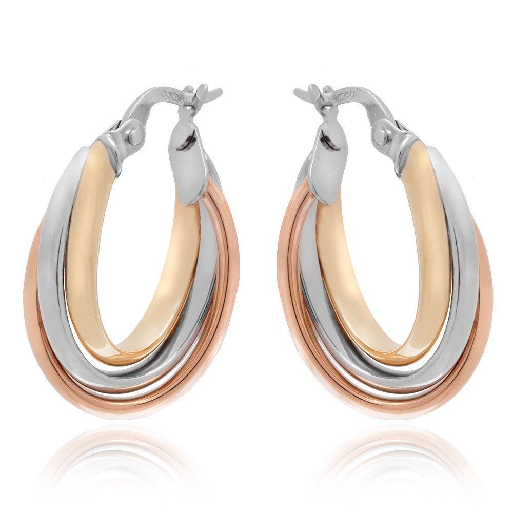 9ct Three Coloured Gold Hoop Earrings