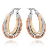 9ct Three Coloured Gold Hoop Earrings