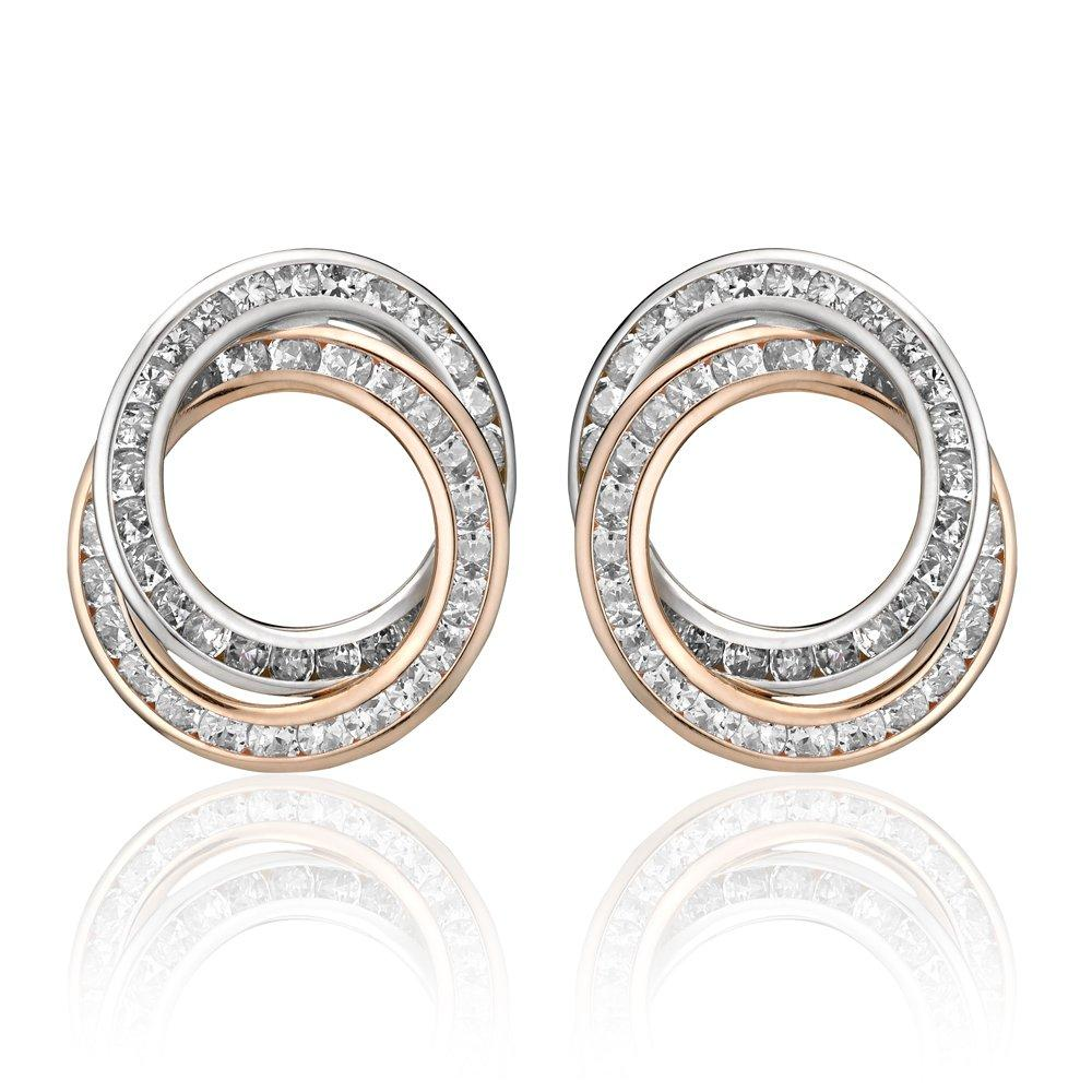 9ct Two Colour Cubic Zirconia Stud Earrings