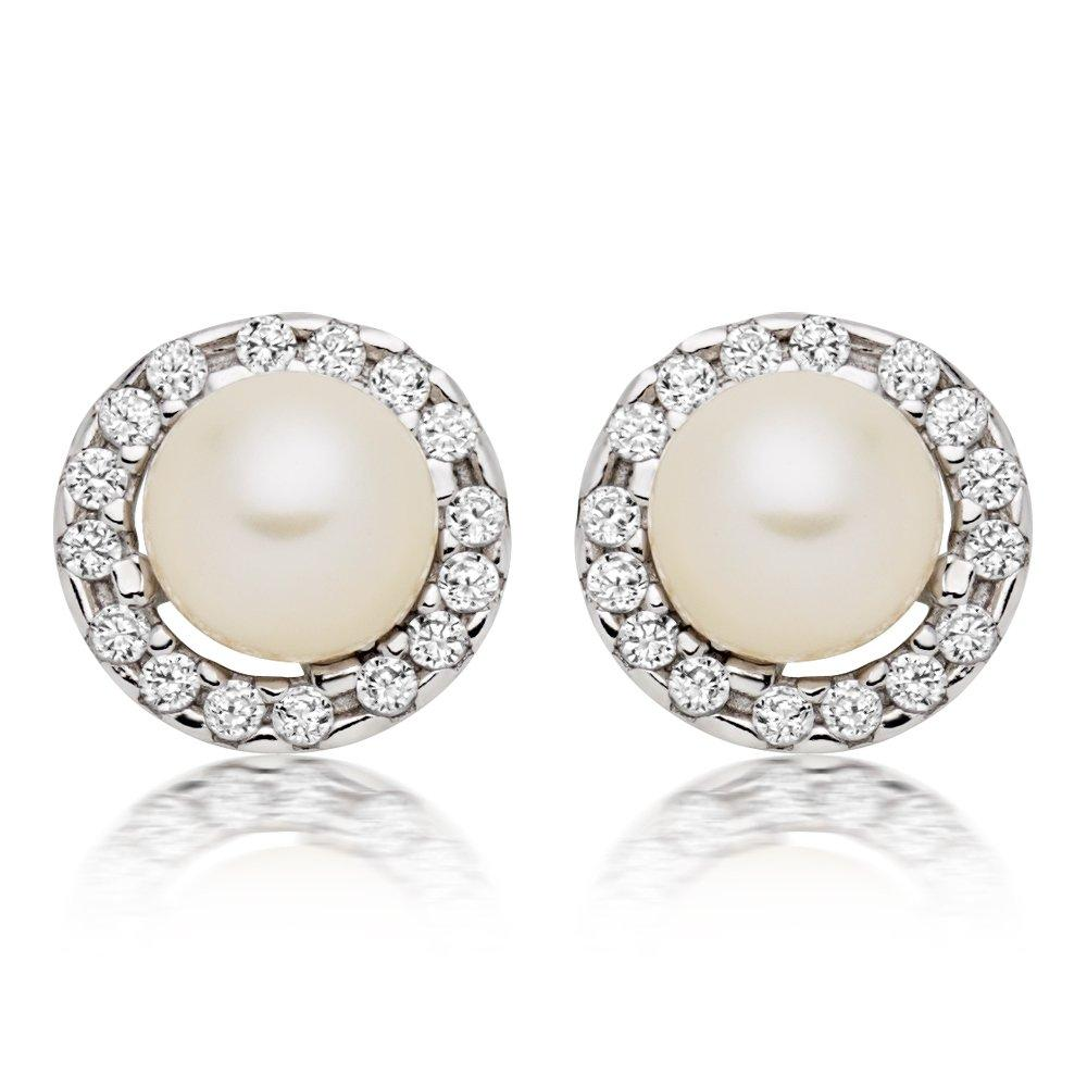 9ct White Gold Pearl Cubic Zirconia Stud Earrings