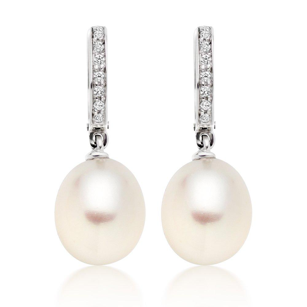 9ct White Gold Cubic Zirconia Freshwater Cultured Pearl Drop Earrings