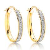 9ct Gold Glitter Hoop Earrings