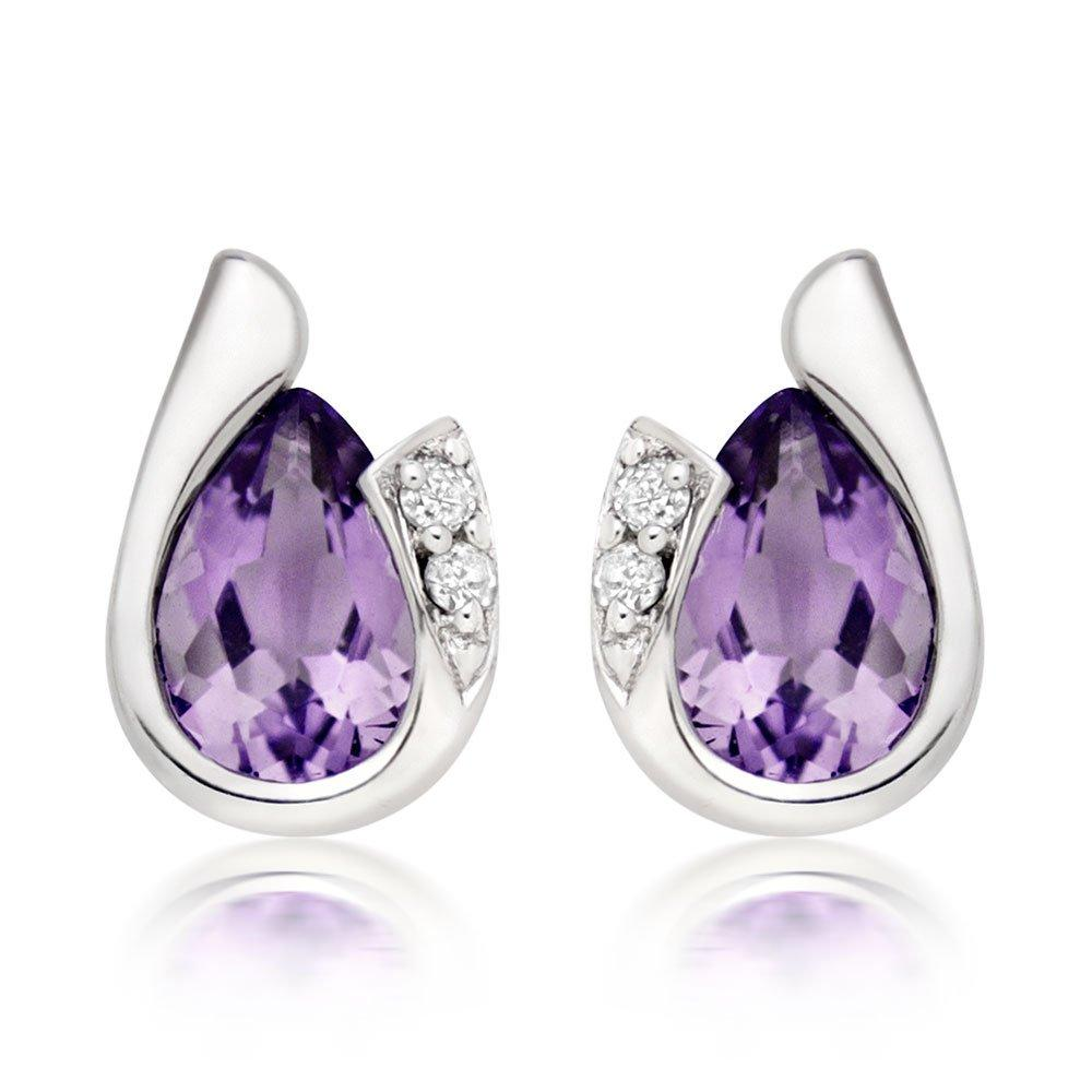 9ct White Gold Diamond Amethyst Earrings