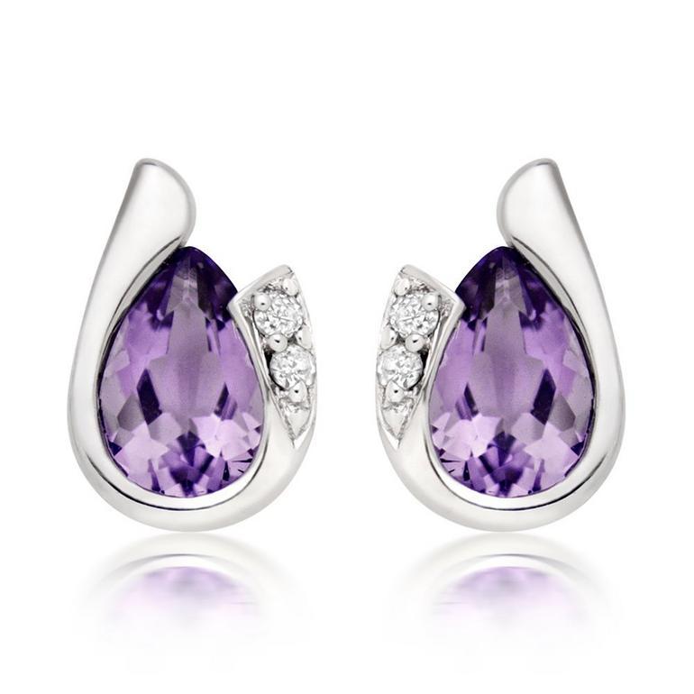 9ct White Gold Diamond Amethyst Earrings