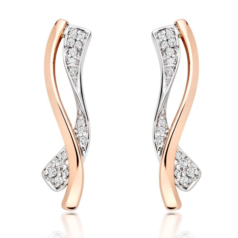 Era 9ct Two Colour Diamond Drop Earrings