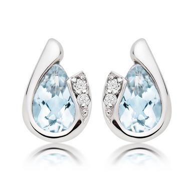 9ct White Gold Diamond Aquamarine Stud Earrings