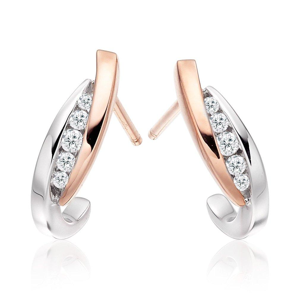 Era Embrace 9ct White Gold and Rose Gold Diamond Hoop Earrings
