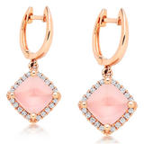 9ct Rose Gold Diamond Quartz Earrings